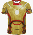 Free shipping ! 2015 Newest Fashion Mens/Womens Cool Iron Man 3D Print Round Neck Casual T-Shirts Short Sleeved T-shirts