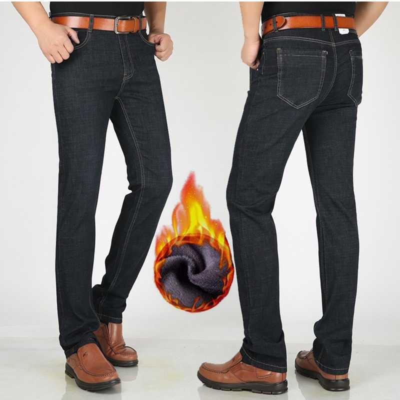 Pantalones vaqueros largos de lana de invierno de 190cm a 200cm de altura para hombre Pantalones vaqueros de edición extendida para hombre de largo 120cm de alto vaqueros rectos abrigados gruesos elásticos