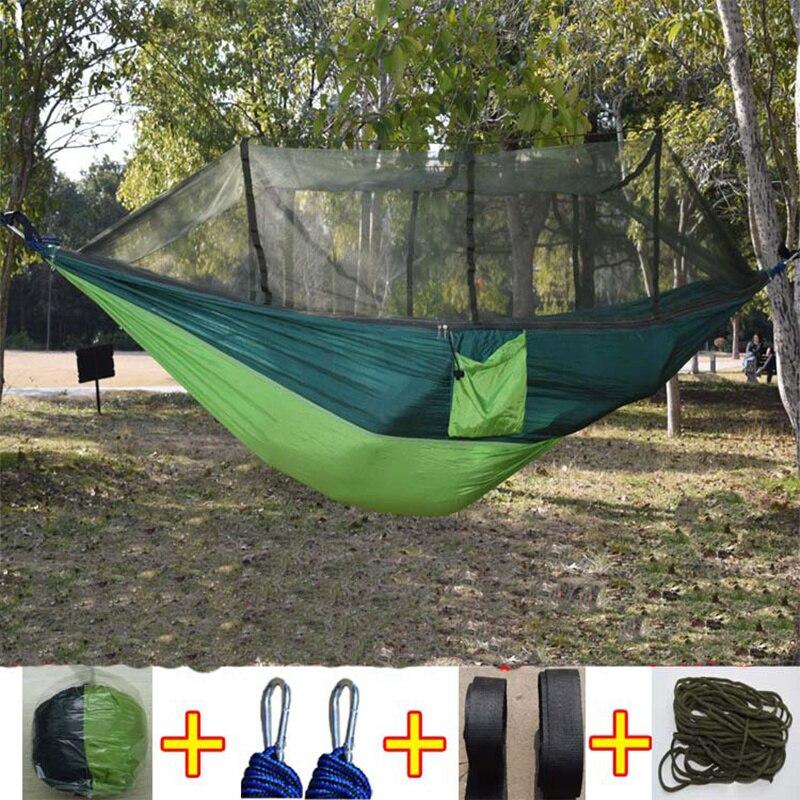 Новейшие Модные Парашютной Ткани Гамак 1-2 человек Портативный москитная сетка гамак для наружной Отдых Путешествия сад качели