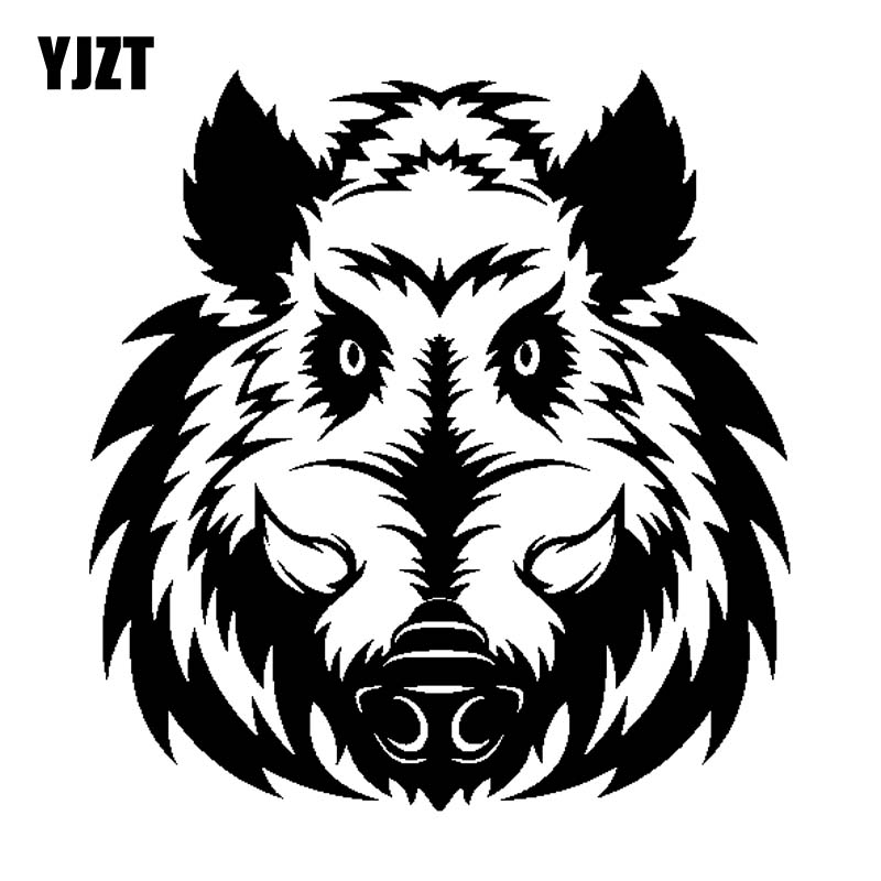 YJZT 17.8CM*18.9CM A Ferocious Wild Boar Head Vinyl Black Silver Car Sticker Decal C13-000646