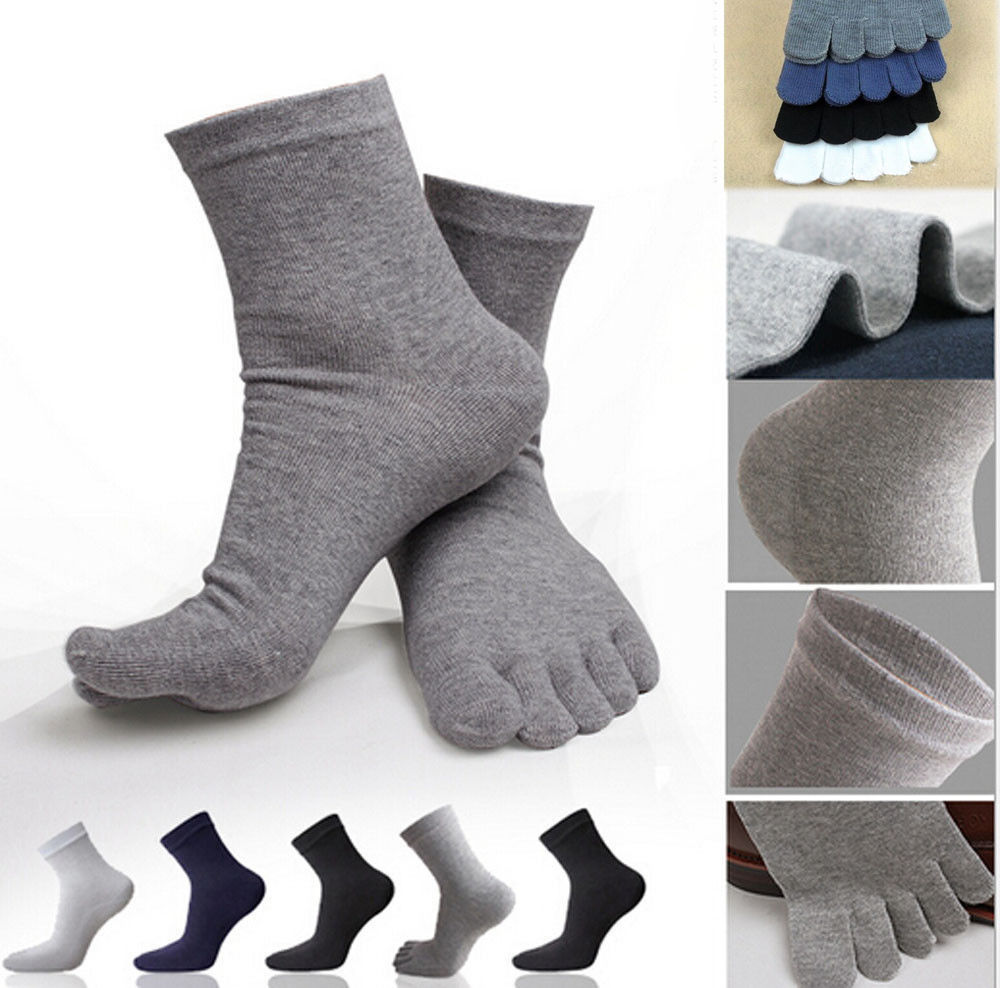 5 Pairs Lot Men/'s Business Five Finger Toe Cotton Socks Soft Anckle Sports Socks