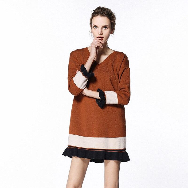 Elegant fashion ruffles elastic women knitted dress spring long sleeve V neck printing loose comfortable ladies dresses HM1122 fashion elegant m