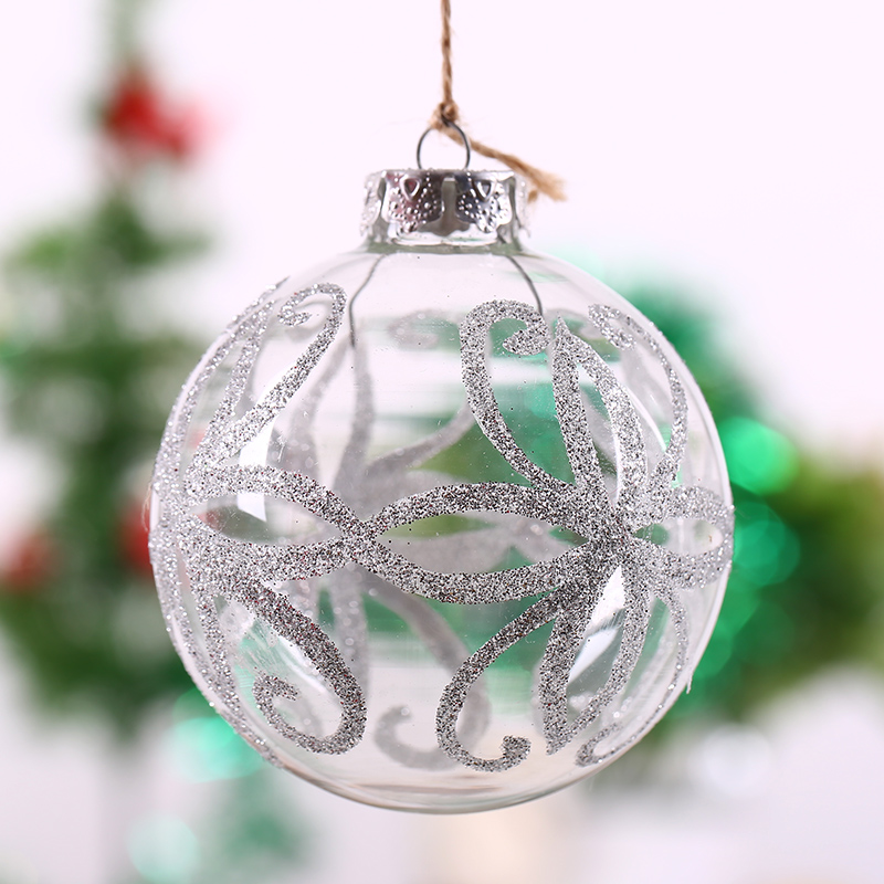 Us 24 8 Clear Glass Ball Xmas Ornament Silver Octopus Design Holiday Festival Hanging Decor Bauble Wedding Anniversary Event Scene 8cm In Ball