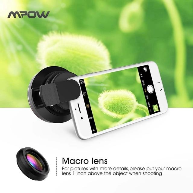 Mpow 0.6X Grande Angular + Lente Macro 10X Lente Do Telefone Lente kit para iphone 6 s plus samsung xiaomi universal smarthone & pro câmeras