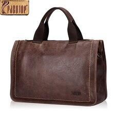 Pabojoe Genuine Leather Briefcase Men Vintage Cow Leather Handbag Men Business Bag