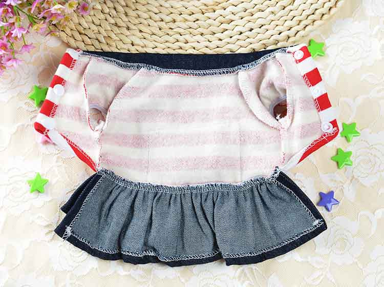 2016 Winter Warm New Dog Dress for Dog Clothes High Quality Jean Pet Clothes Fashion Striped Pets Dogs Princess Dresses Balck Red5