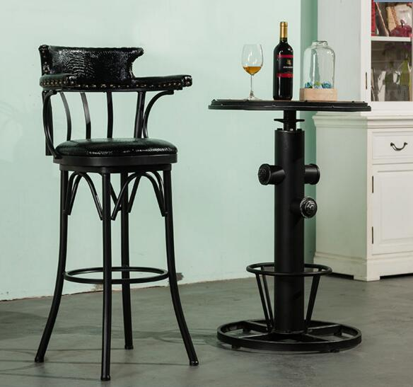 Spin The Chair.. Desk Chair High Chair. American Vintage Old Iron Bar Chair001