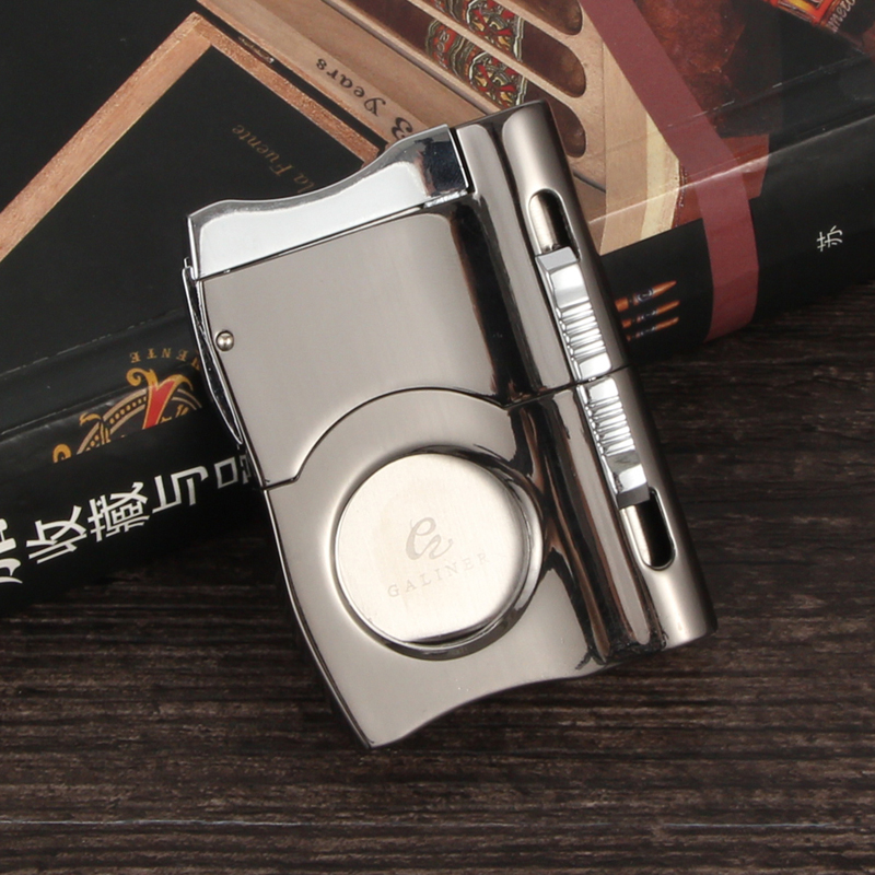 Brand New COHIBA Cigar Cutter Built In 2 Size Cigar Punches Locked Blades Luxury Cutters For Cigars Cigarette Gadgets W Gift Box