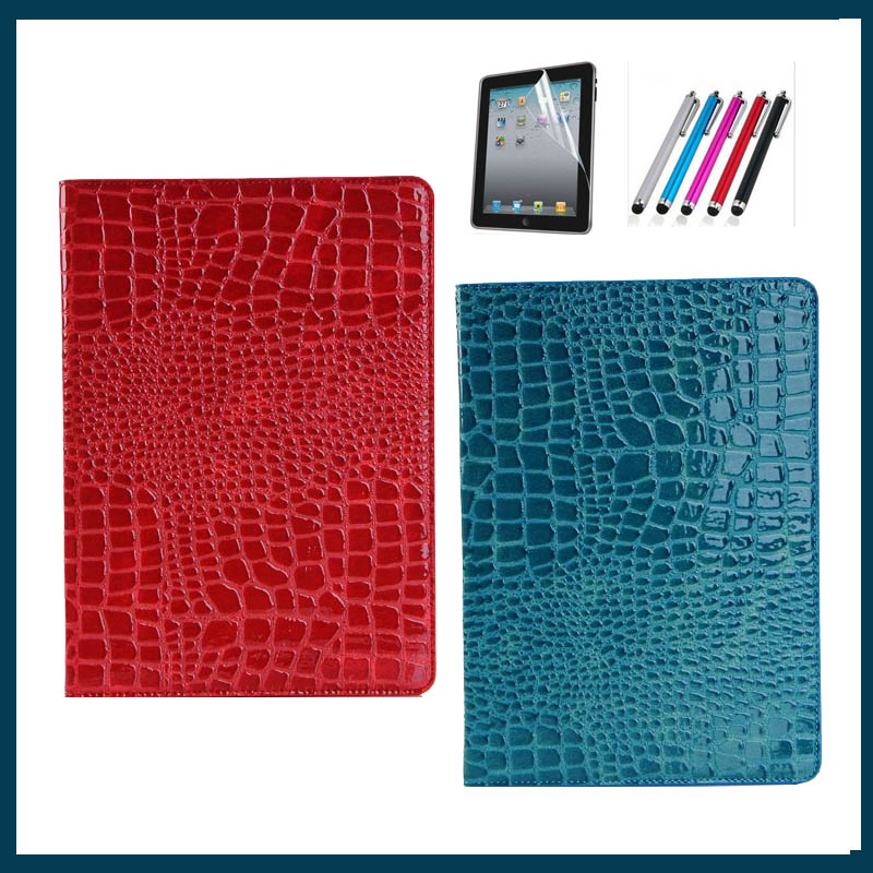 hot sell case for ipad 5 Luxury Crocodile case cover For Apple ipad air ipad5 with stand+film+pen