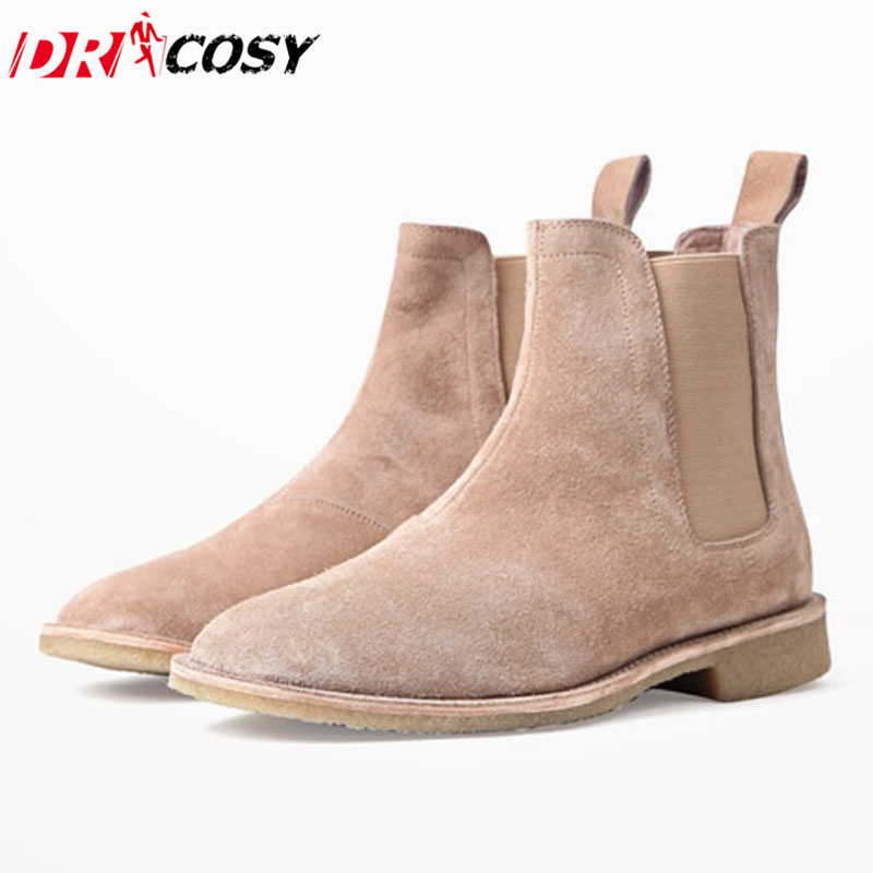 Luxury Brand Vintage Genuine Leather Men Boots Chelsea Kanye West Boots Fashion Sexy Platform Botas Mens Martin Shoes Plus Size 100% genuine leather new arrival 2014 brand fashion boots vintage platform shoes short boots
