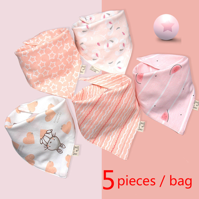 5 pieces bag Baby bibs High quality triangle double layers cotton baberos Cartoon Character Animal Print baby bandana bibs in Bibs Burp Cloths from Mother Kids