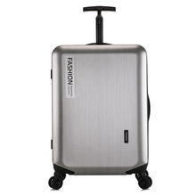 Travel-Bags Trolley Universal-Wheel Silver-Luggage Suitcase Valise Abs PC Brushed Password-Bag