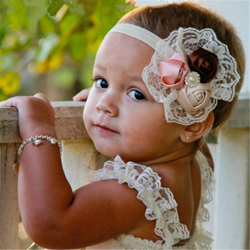 Elastic Headbands Baby Girl Hair Bands Christmas Rose Flower Crystal Baby Lace Hair Accessories Children Toddlers Headwear 10pcs sweet diy boutique bow headbands elastic head band children girl hair accessories headwear wholesale
