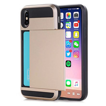 For iPhone XR Case Hybrid Tough Card Storage Armor Back Case For iPhone XS Max X 5S 6 6s 7 8 Plus Credit Card Holder Coque Case