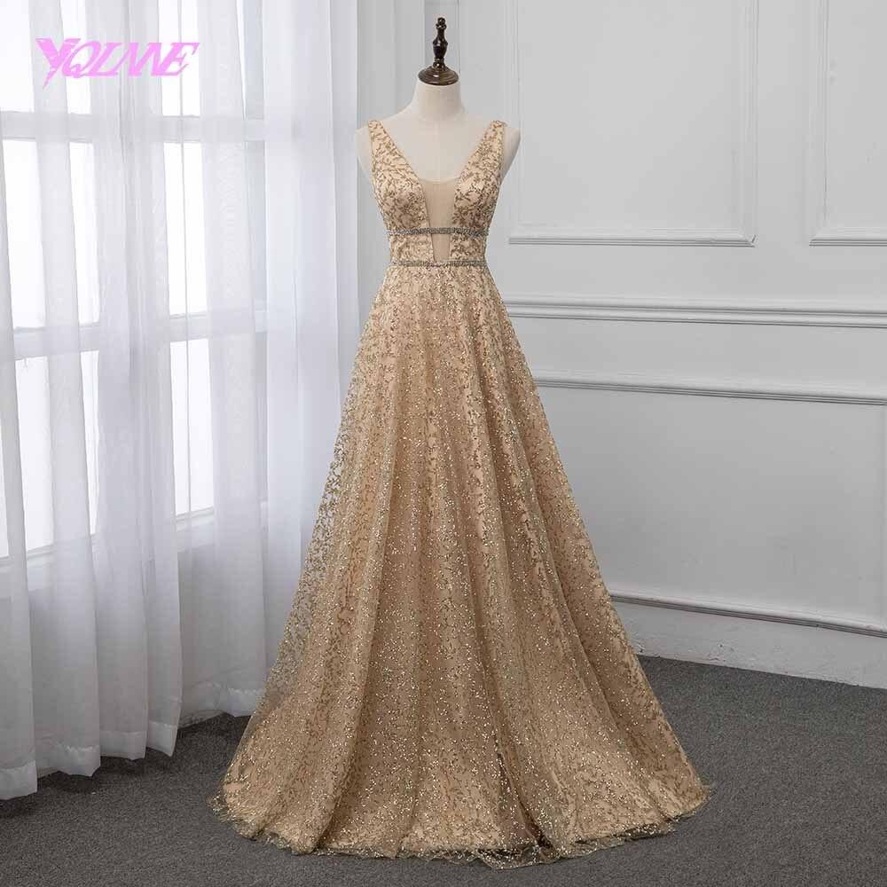 YQLNNE 2019 Shining Long Prom Dress Formal Gown Deep V Neck Sleeveless Dresses