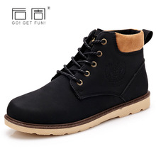 QWEEK Men Ankle Boots Casual Lace Up Work Shoes Snow Boots Pu Leather Autumn/winter Warm British Fashion Boots Social Footwear