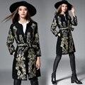 Europeo 2016 Mujeres Chaqueta de Invierno Abrigo de Lana Nueva Pesada Bordado de Hilo de Oro Negro de Lana de Abrigo Abrigo Con Cinturón