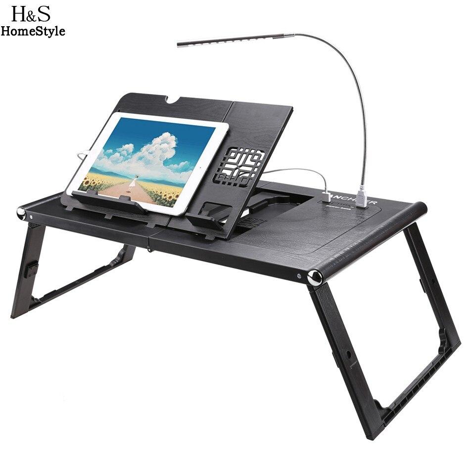 Homdox Ordinateur Portable Stand Pliage, Portable Réglable Table D'ordinateur Portable prooffice Lapdesk Ergonomique Support Pour Ordinateur Portable avec la Banque D'alimentation 10000 mAh
