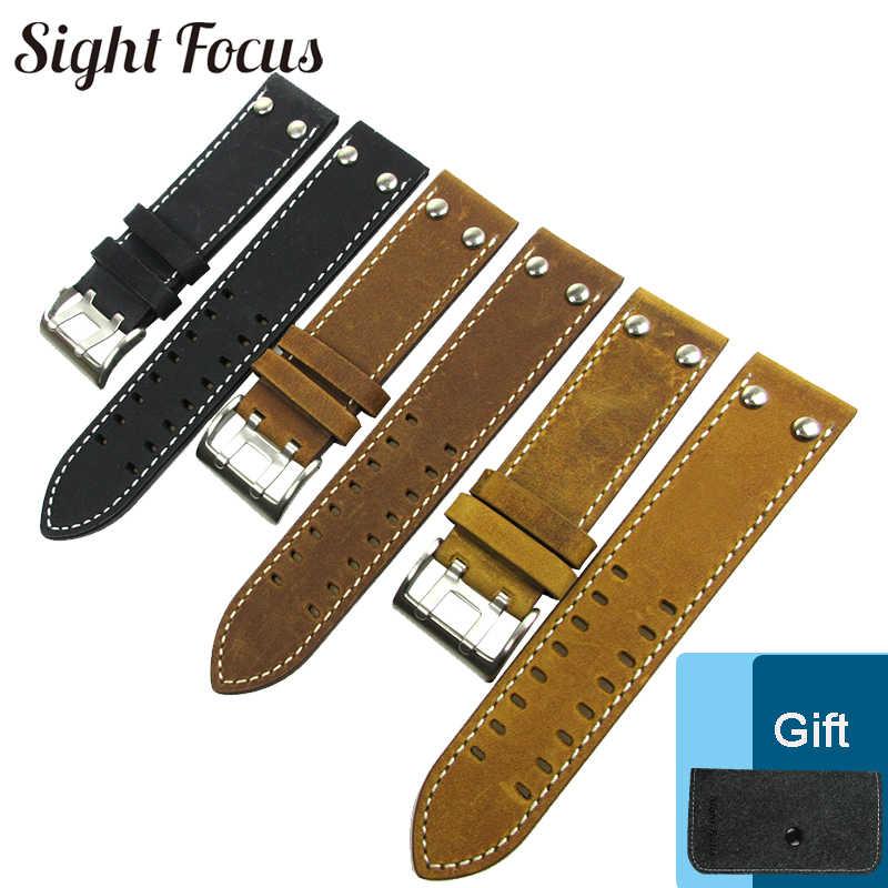 94e33774e 22mm Watch Band for Hamilton Strap Black Brown Crazy Horse Calf Leather  Belt Watch Bracelet Montre