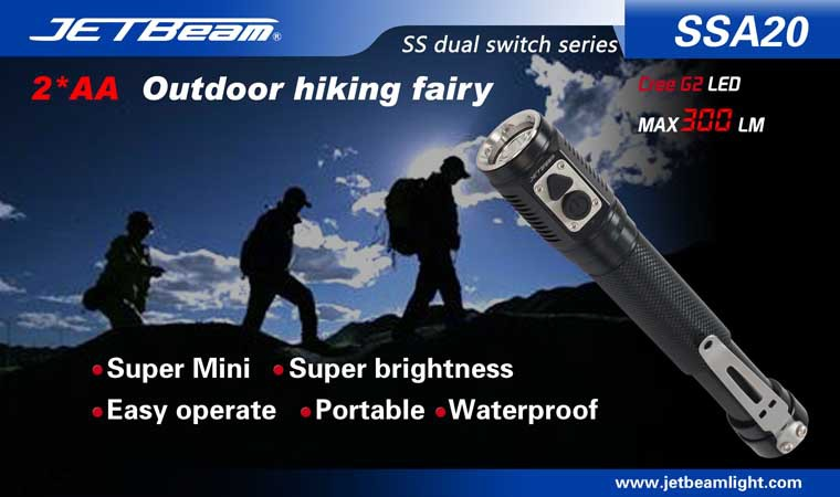 Free Shipping Original JETBEAM SSA20 Cree G2 LED 300 lumens flashlight daily EDC torch Compatible with 2*AA battery jetbeam jet i mk 480lm cree xp g2 led edc flashlight