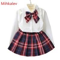 Mihkalev 2018 אביב אימונית עבור בנות בגדי סטי שרוול ארוך חולצות + חצאית תלבושות ילדי סט תינוקת 2 יחידות בגדי חליפות