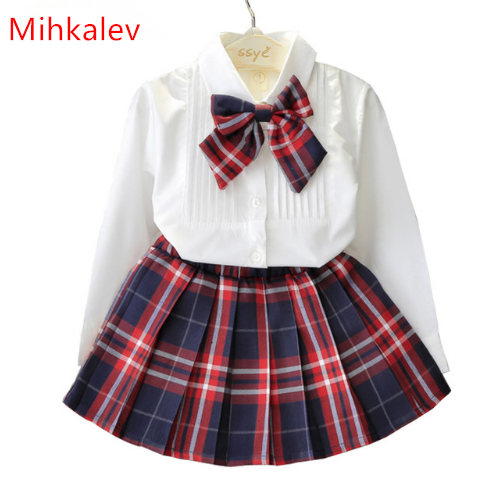 Mihkalev 2018 spring Tracksuit for Girls Clothing Sets Long Sleeve tops +skirt baby girl 2pcs outfits set children clothes suits baby girl 1st birthday outfits short sleeve infant clothing sets lace romper dress headband shoe toddler tutu set baby s clothes