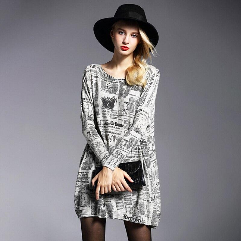 Dámské šaty zbrusu nový podzim zima vysoce kvalitní vlněné směsi pletené svetrů nadměrné dlouhé rukávy O-krk tiskové dresy 6129
