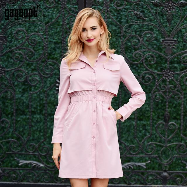 Gagaopt 2017 New Arrivals Autumn Dress Women False Pocket Shirt Dress Tunic Office Dress Robe Vestidos