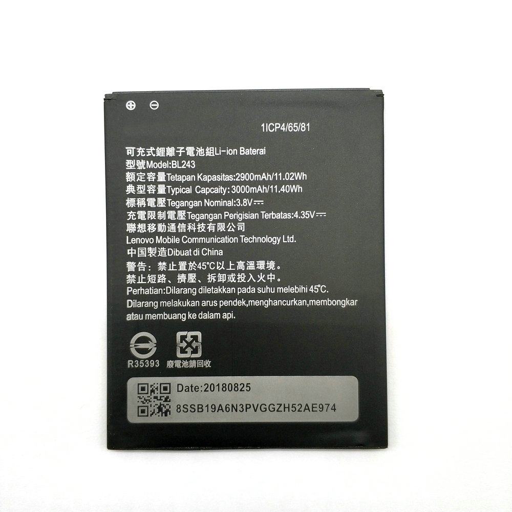 2018 New BL243 Battery For Lenovo Lemon K3 Note K50-T5 A7000 A5500 A5600 A7600 2900mAh BL 243 Mobile Phone replacement image