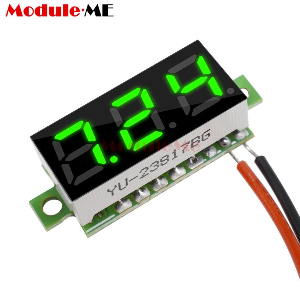 Mini Digital Voltmeter 0.28 Inch 2.5V-30V Voltage Tester Meter Green LED Screen Electronic