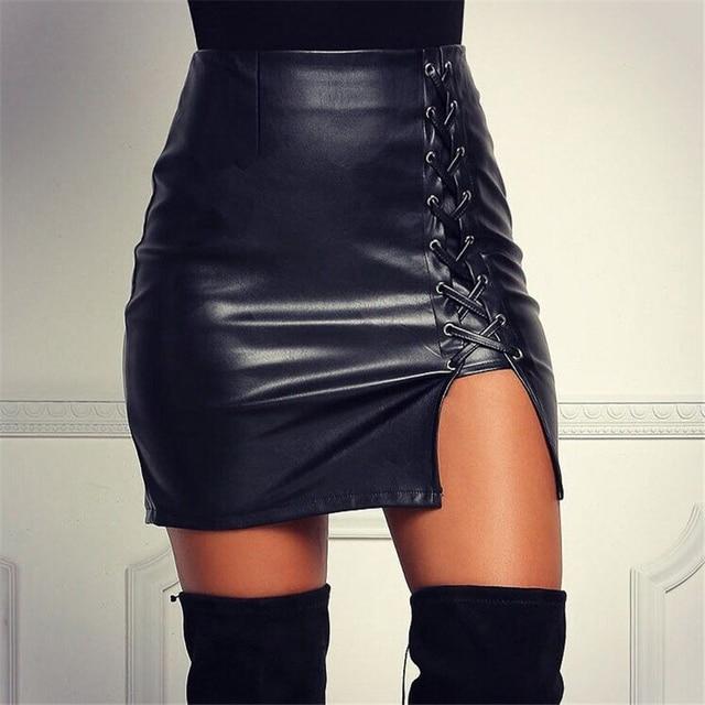 f6161c158838 Sexy Kunstleder Rock Frauen Schwarz Bandage Bleistift Wildleder Rock Hohe  taille Lace Up Split Mini Röcke