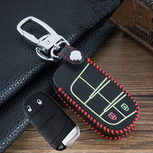 Image 3 - Hand sewing Luminous Leather Emote Smart Car Key Cover Case Shell For Dodge Journey Charger for Jeep Renegade Grand Cherokee