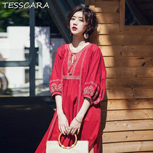 082faa5a0c2 TESSCARA Women Spring Casual Embroidery Dress Festa Female High Quality  Bohemian Designer Robe Femme Vocation Long