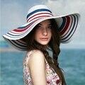 2015 Новый Женщины Лето Пляж Вс Шляпы Большой Головной Соломы шляпа Синий Красная Полоса Анти-Уф Шляпа Солнца Женский Случайные Шапки E1050