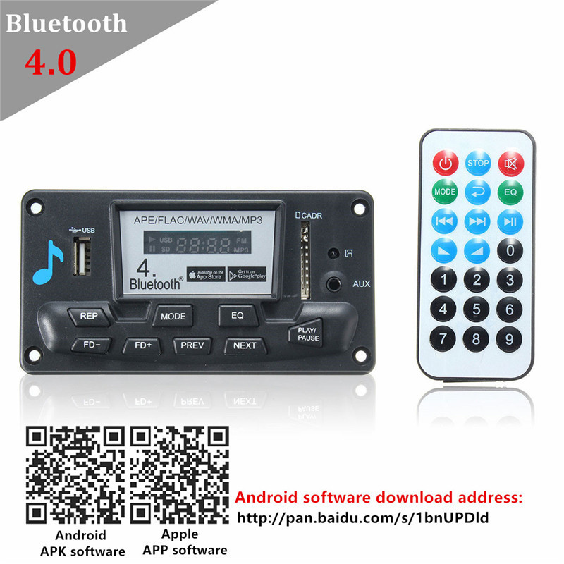 LEORY 12V  MP3 Audio Decoder Board Wireless Bluetooth 4.0 Module APP MP3 WMA/WAVFor IOS Android For Car With Alarm Clock