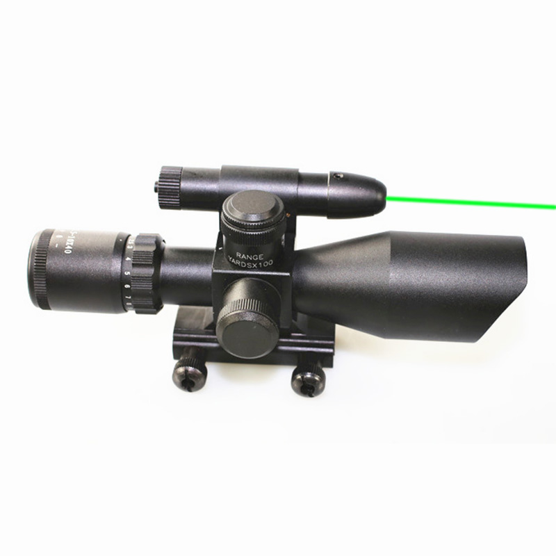Tactical Compact Laser Riflescope 2.5-10x40 E Red&Green illuminated Sight Scope With Green Dot Laser Sight For 20mm Rail Mount hot tactical riflescope 2 5 10x40 optics red laser holographic sight scope illuminated shooting hunting scope 11 20mm rail mount