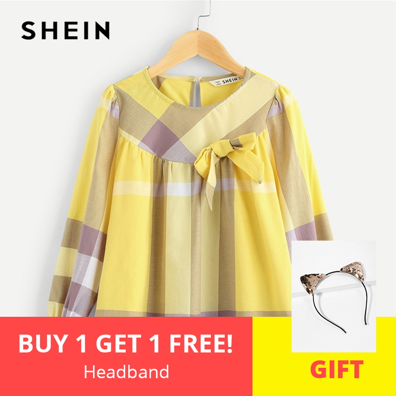 SHEIN Kiddie Bow Embellished Keyhole Back Plaid Girls Blouse Kids Tops 2019 Spring Flounce Sleeve Button Cute Teenager Shirts