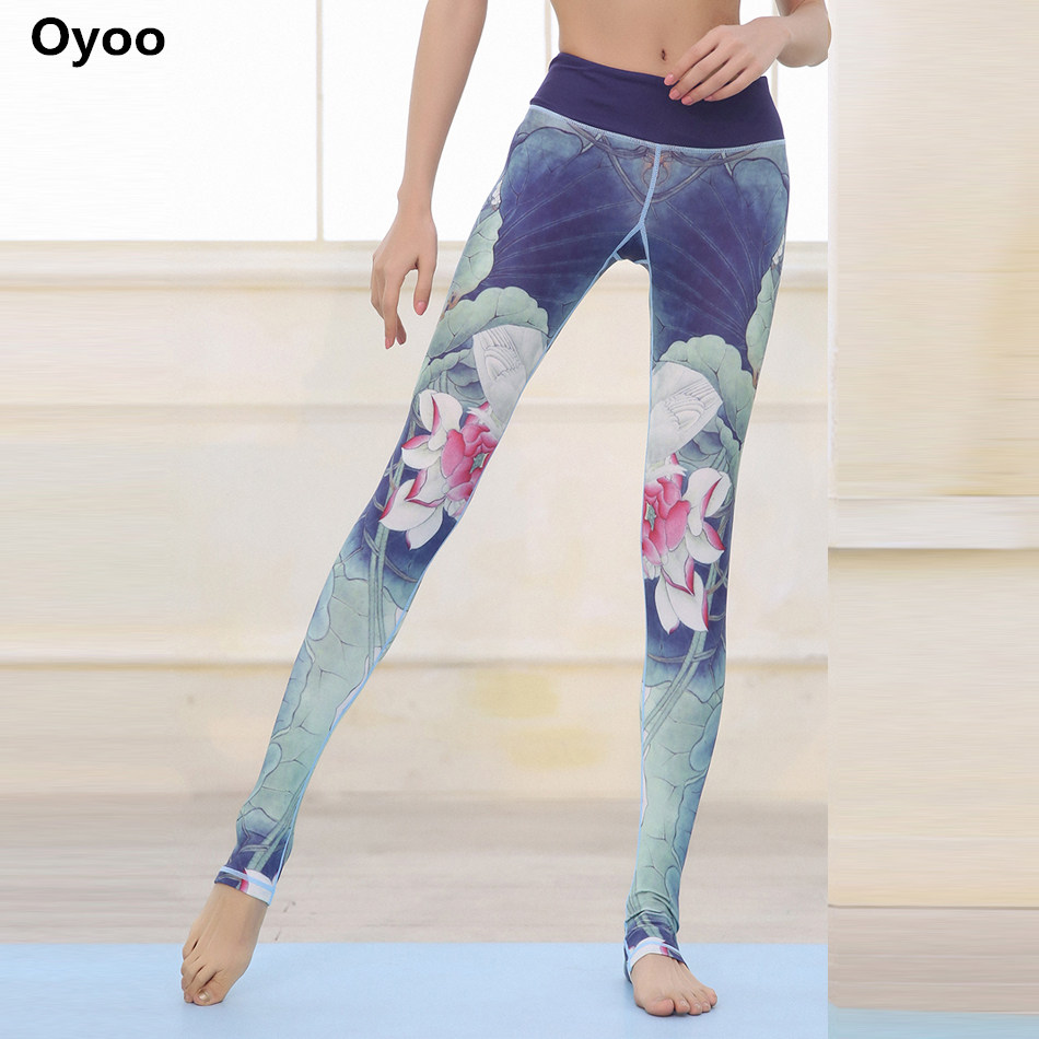 Oyoo comfy Lotus Athletic leggings full length floral print high waist running yoga pants blue sports legging fitness gymwear 2017 women s yoga pants workout capri leggings running tights side pockets functional pattern patchwork sports leggings jnc2315