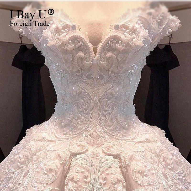 Pearl Beading Ivory Satin Vintage Wedding Dress Vestidos De Noiva De Luxo 2017 Sexy Wedding Dresses Turkey Dubai Luxury Style
