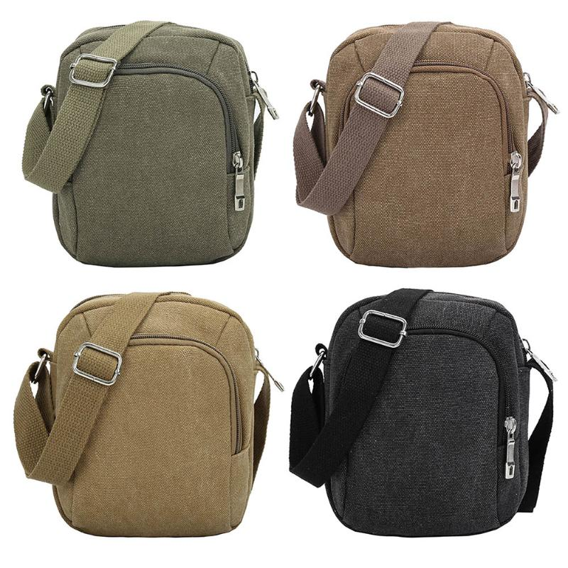 Vintage Men Solid Color Zipper Waist Bags Casual Canvas Travel Handbag Large Capacity Simple Shoulder Crossbody Bags