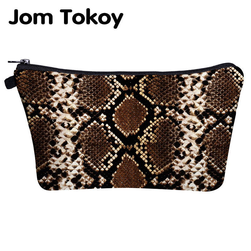 Jom Tokoy Cosmetic Bag Printing Serpentine Makeup Pouch Bag Organizer Women Beauty Bag