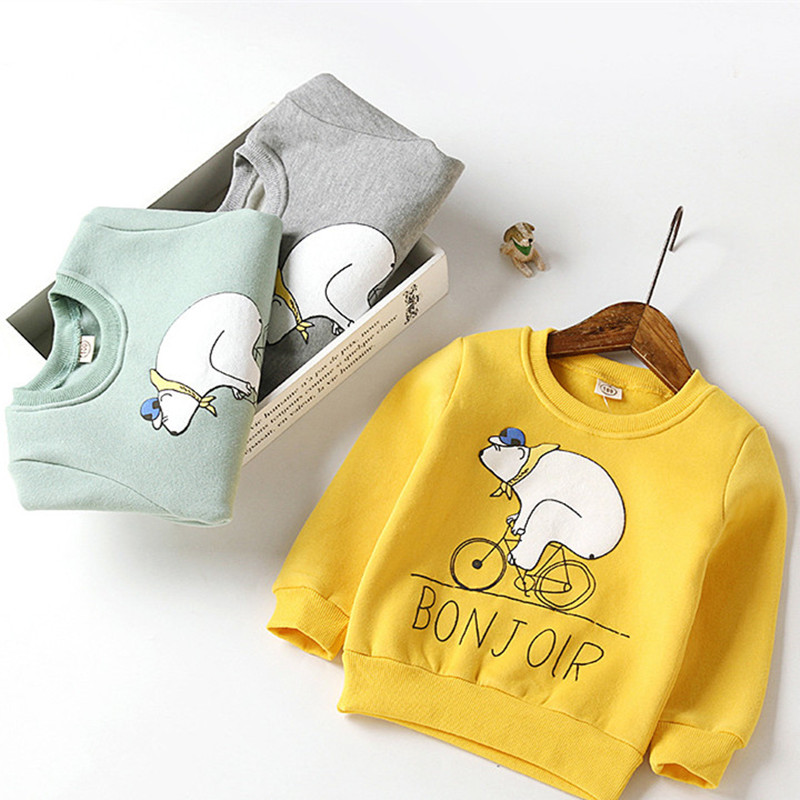 2017 New Kids Children's Cartoon Sweatershirt Spring boys girls Pullover bear running bike Tops Babys Clothes 3 Colors T-
