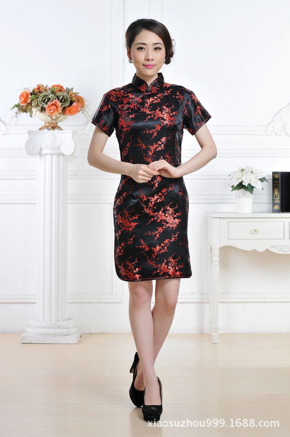 Chinese Traditional Dress Women 39 s Silk Satin Mini Cheongsam Size S to 3XL in Cheongsams from Novelty amp Special Use