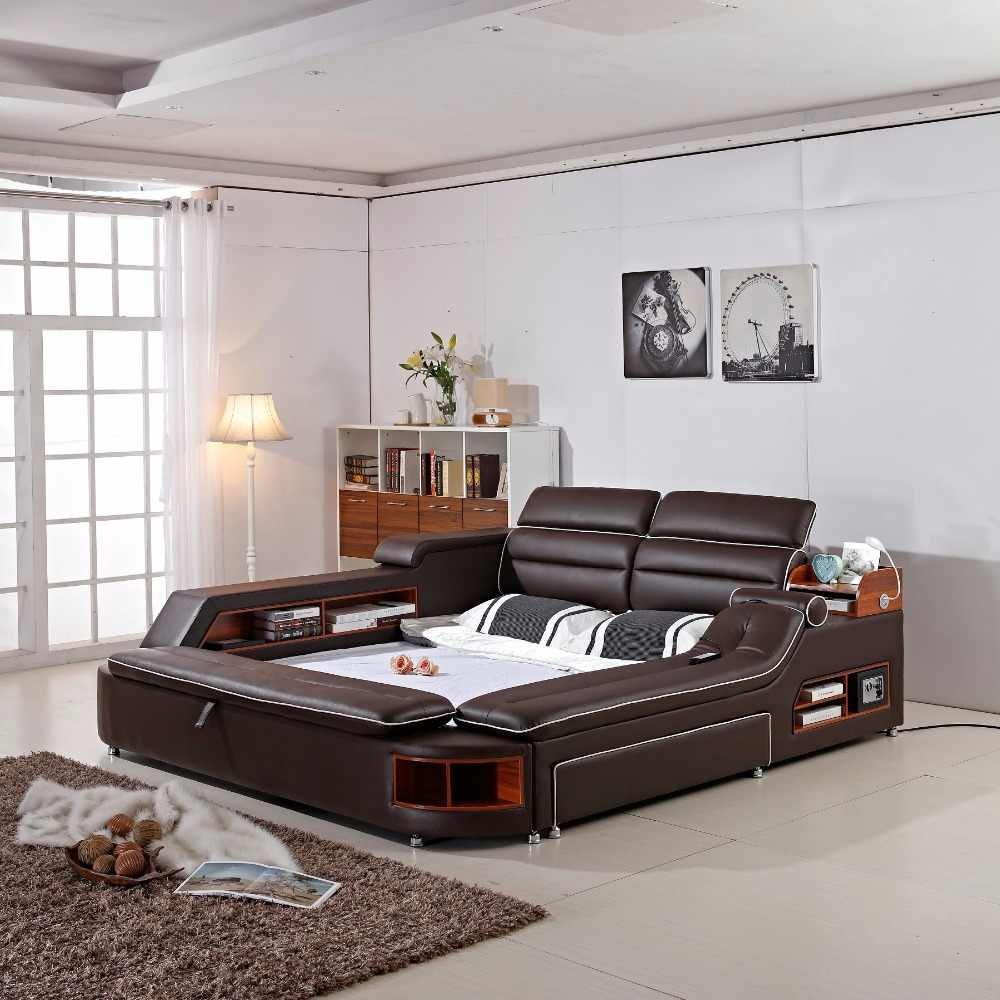 delivery to COSTA RICA ! 2018 Limited New Arrival Modern Bedroom Set Moveis Para Quarto Furniture Massage Soft Bed With Safe