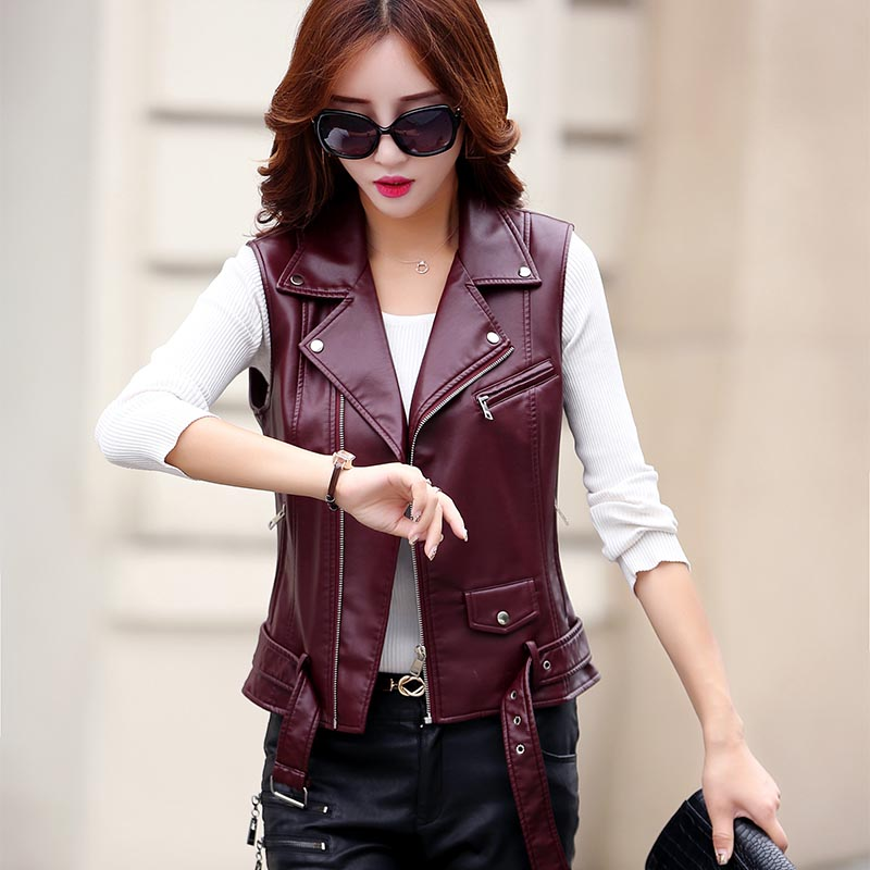 B Spring and autumn Zipper Vest Women PU   Leather   Soft Vest Ladies   Leather   Motorcycle Pocket vest waist coat Rivet Waist Coat