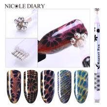 1 Pc Dual-ended Cat Eye Magnet Stick Magical Stick Bunga Stripe Grid Untuk Magnet UV Gel UV Manicure Nail Art Tool