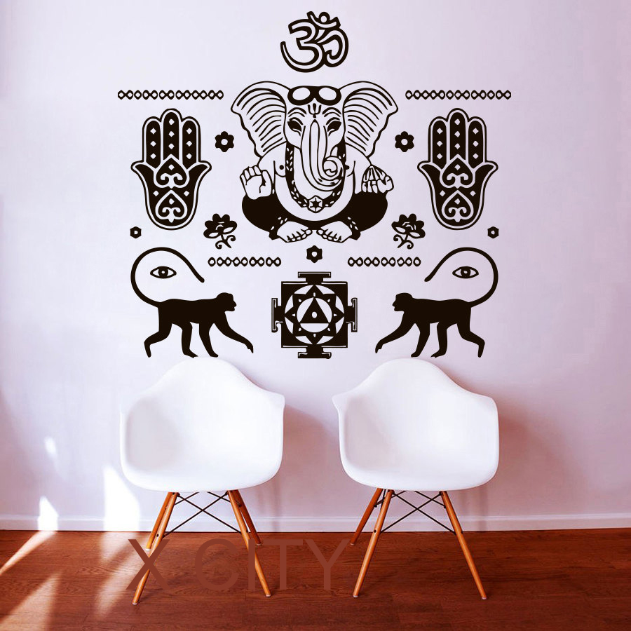 Wall Decals Buddha Hand Hamsa Elephant Indian Oum Om Vinyl Sticker Home Decor Interior Design Art Bedroom Yoga Studio