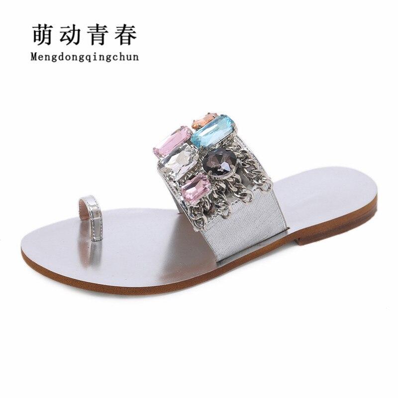 Femmes talons plats chaussures 2019 mode tongs talons plats chaussures gladiateur sans lacet cristal strass d'été sandales grande taille 43