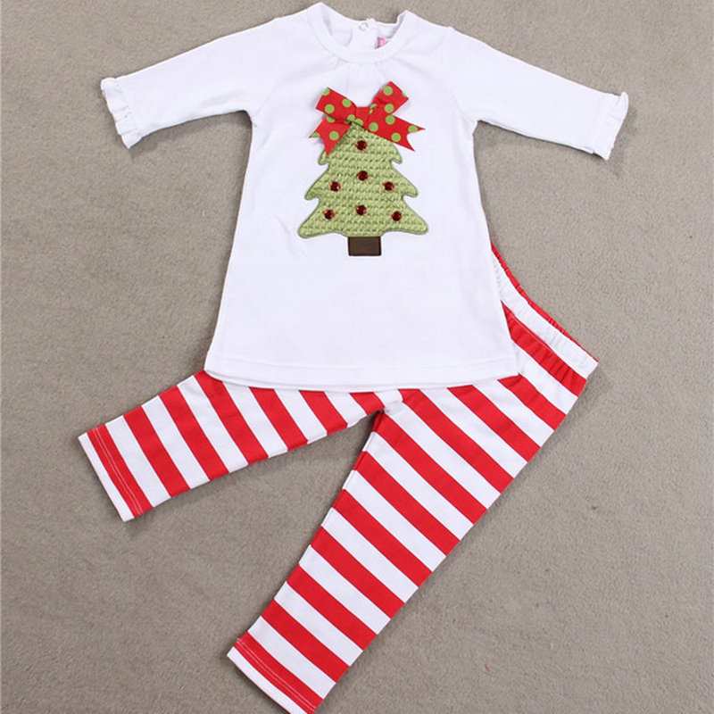 Christmas Baby Clothing Set Long Sleeve Children Outfits Girls Set Christmas Tree Party Gift Kids Costume Toddler Xmas Clothes