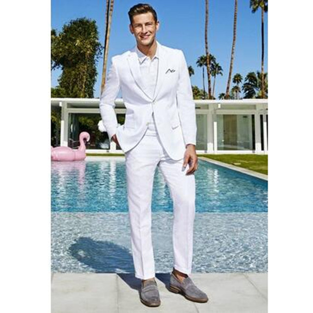 2019 White Men Suit Slim Fit Wedding Tuxedo Suits Custom Made Groomman Blazer Ternos 2 Pieces Set Jacket Pant Traje Hombre Suits in Suits from Men 39 s Clothing